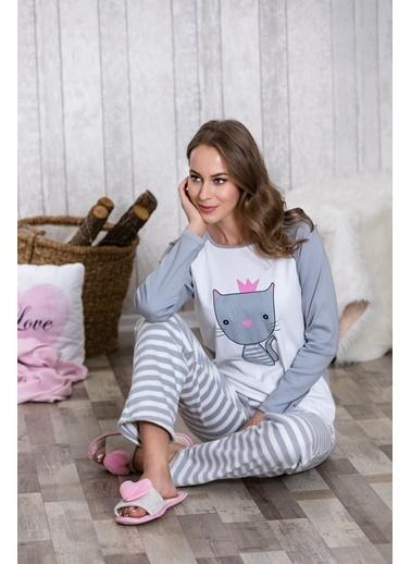 Lingabooms Taçlı Kedi Baskılı Kadın 2'li Pijama Takım  Pembe